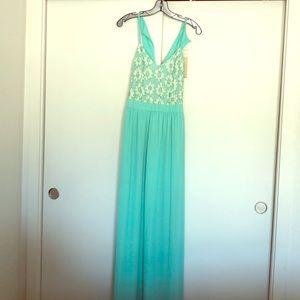 Never worn mint flower long dress!